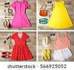 set of different looks on... | Shutterstock . vector #566925052