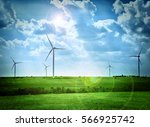 green technology concept. wind... | Shutterstock . vector #566925742