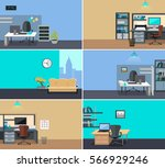 set of workplace and working... | Shutterstock . vector #566929246
