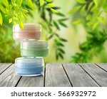 natural cosmetic on wooden... | Shutterstock . vector #566932972