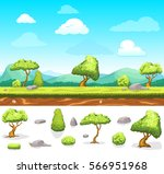 summer game design landscape... | Shutterstock .eps vector #566951968