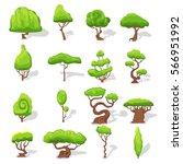 fantasy green trees set of...