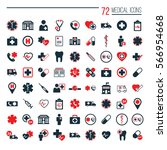 medical icons set on white... | Shutterstock .eps vector #566954668