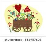 flowers from hearts in garden... | Shutterstock .eps vector #566957608