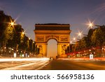 the arc de triomphe in paris ... | Shutterstock . vector #566958136