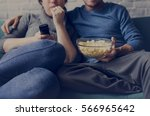 couple watching tv home relax... | Shutterstock . vector #566965642