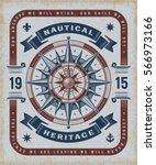 vintage nautical heritage... | Shutterstock .eps vector #566973166