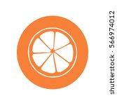 flat icon. orange in a cut.... | Shutterstock .eps vector #566974012