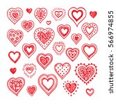 hand drawn hearts set. isolated ... | Shutterstock .eps vector #566974855