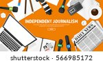 mass media background in a flat ... | Shutterstock .eps vector #566985172