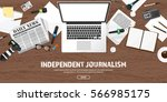 mass media background in a flat ... | Shutterstock .eps vector #566985175