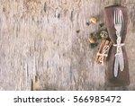 winter holiday dinner plate... | Shutterstock . vector #566985472