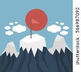 red flag on a mountain peak.  | Shutterstock .eps vector #566987092