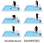 swimming pool cleaning service...   Shutterstock .eps vector #566989282