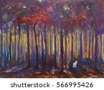 Mysterious Autumn Forest With...