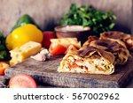 homemade strudel with chicken ...   Shutterstock . vector #567002962