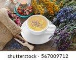 bunch of medicinal herbs  cup... | Shutterstock . vector #567009712