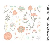 hand drawn floral elements set... | Shutterstock .eps vector #567016852