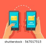 sending message process concept.... | Shutterstock .eps vector #567017515