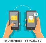 sending message concept. hand... | Shutterstock .eps vector #567026152