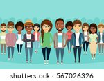 big crowd diverse ethnic. young ... | Shutterstock .eps vector #567026326