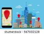 mobile navigation app. gps... | Shutterstock .eps vector #567032128