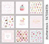 Cute card templates set for girls. Including frames, seamless patterns with sweets. For birthday, wedding, baby shower design.