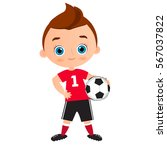 young boy. kid playing football.... | Shutterstock .eps vector #567037822