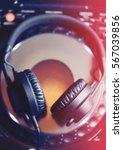 dj headphones top view.overhead ... | Shutterstock . vector #567039856