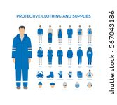 vector set of men in protective ... | Shutterstock .eps vector #567043186