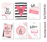 set of 6 valentines day gift... | Shutterstock .eps vector #567059935