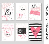 set of 6 valentines day gift... | Shutterstock .eps vector #567059968