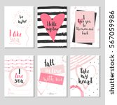 set of 6 valentines day gift... | Shutterstock .eps vector #567059986