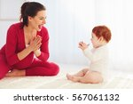 happy pregnant mother and...   Shutterstock . vector #567061132