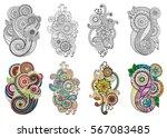 ethnic floral zentangle  doodle ... | Shutterstock .eps vector #567083485