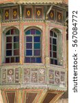 Small photo of Colorful wooden window Beiteddine Palace, traditional arabesque style