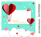 heart balloon and snow of happy ... | Shutterstock .eps vector #567099085