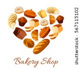 bread and pastry heart.... | Shutterstock .eps vector #567115102