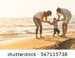 happy young family have fun on... | Shutterstock . vector #567115738