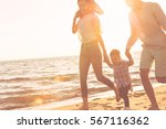happy young family have fun on... | Shutterstock . vector #567116362