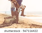 group of friends together on... | Shutterstock . vector #567116422