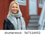 young happy caucasian woman... | Shutterstock . vector #567116452