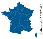 blue blank france map. flat... | Shutterstock .eps vector #567120622