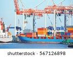 port cargo crane  ship and... | Shutterstock . vector #567126898