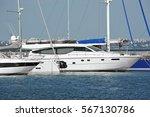 White Motor Yacht Over Harbor...
