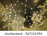 modern cityscape and wireless... | Shutterstock . vector #567131596