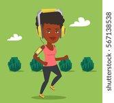 happy african american woman... | Shutterstock .eps vector #567138538