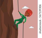 african american climber in... | Shutterstock .eps vector #567139306