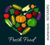 heart shaped vegetables. radish ...   Shutterstock .eps vector #567143392
