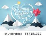 paper art of happy valentine's... | Shutterstock .eps vector #567151312